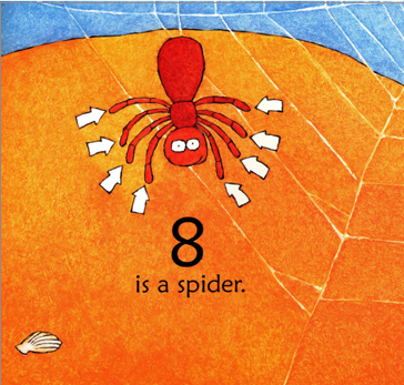 """A spider at the beach has eight arrows pointing to each one of his legs. Illustration from """"One is a Snail Ten is a Crab""""."""