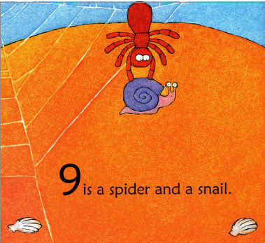 """A spider at the beach picks up a snail. Illustration from """"One is a Snail Ten is a Crab""""."""