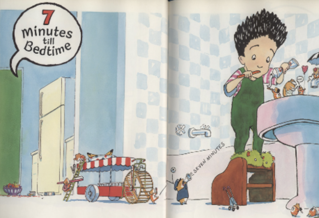 "A boy brushes his teeth in a hurry and someone says ""7 minutes til bedtime."" Illustration from ""10 Minutes Until Bedtime."""