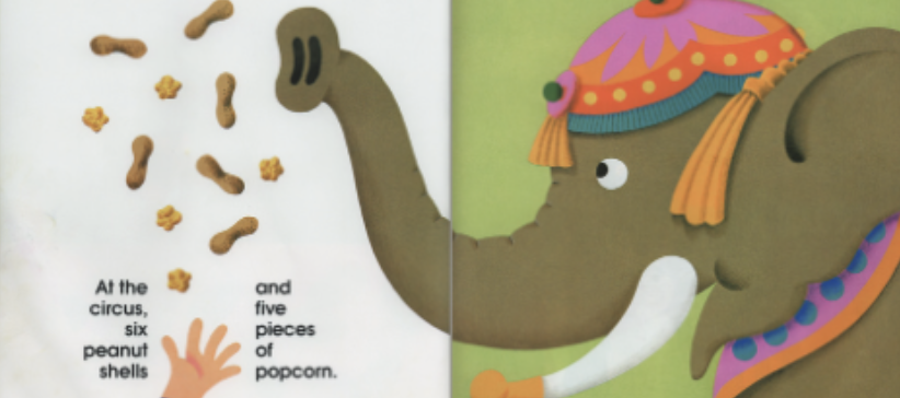 "A circus elephant eats six peanut shells and five pieces of popcorn. Illustration from ""12 Ways to Get to 11."""