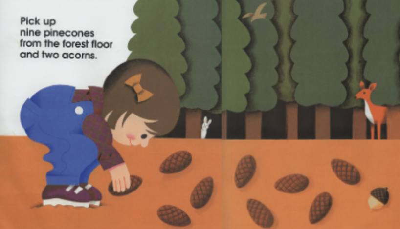 "A young girl picks up nine pinecones from the forest floor. Illustration from ""12 Ways to Get to 11."""