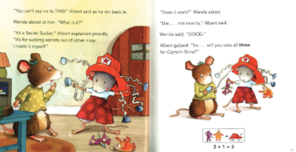 "Two mice play with toys and talk about trading their toys. Illustration from ""Albert Adds Up."""