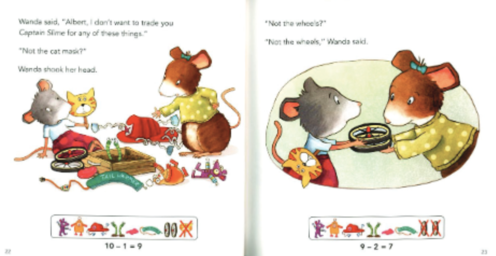 "Two mice try to trade different toys with one another. ""Illustration from ""Albert Adds Up."""