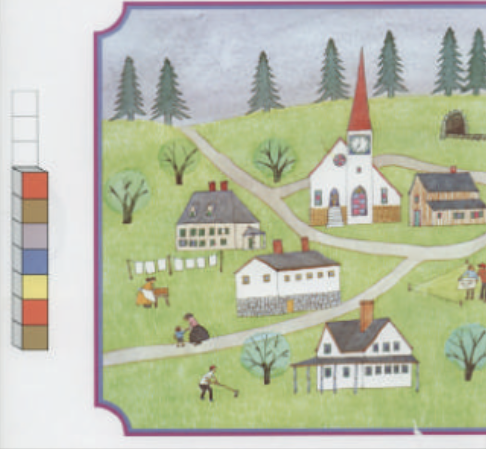 """A depiction of a small town with five buildings, pine trees, and people walking along a road. Illustration from """"Anno's Counting Book."""""""