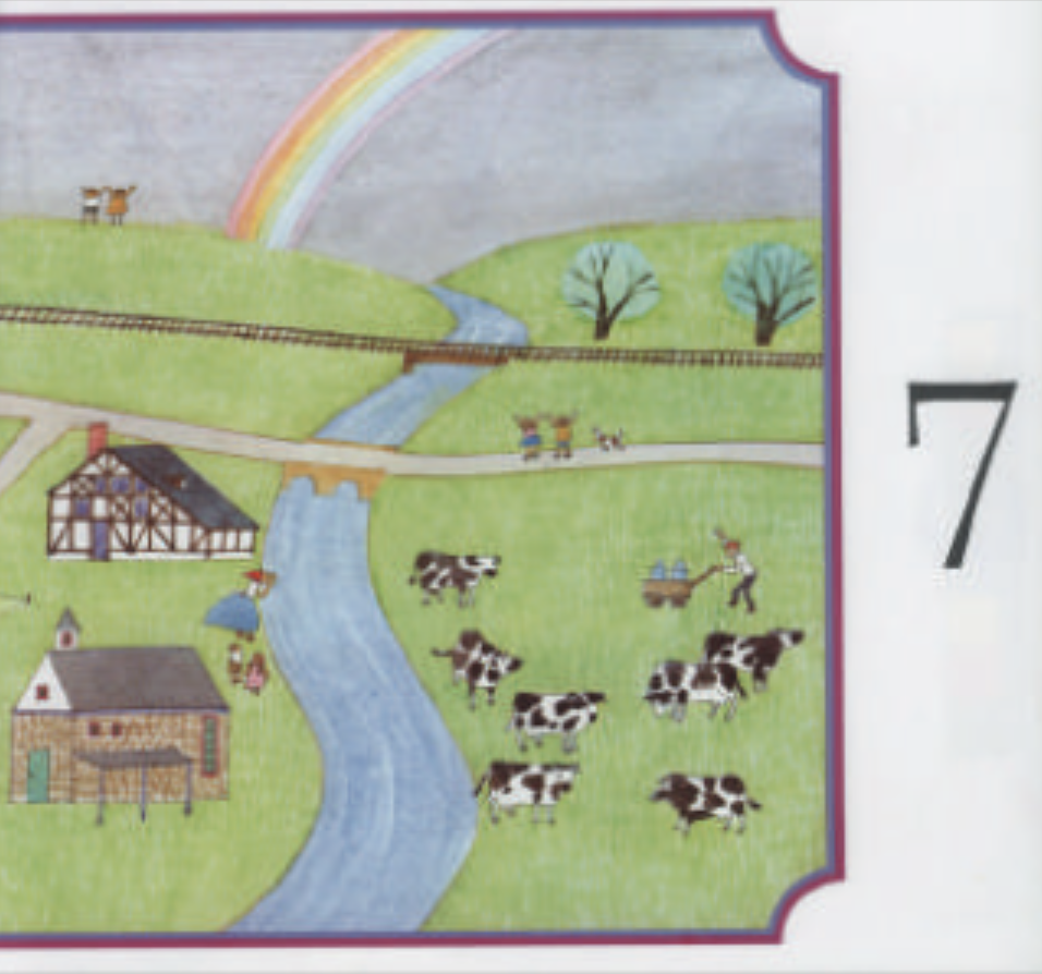 """A large green pasture depicting two homes, a river, cows, two bridges, trees, and a rainbow in the background. Illustration from """"Anno's Counting Book."""""""
