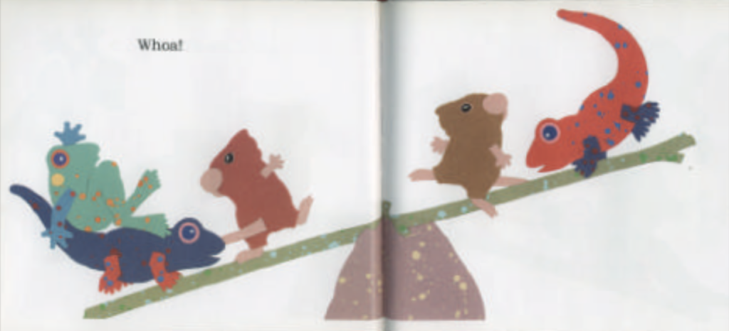 "Three animals on the left of the seesaw are being weighed down by animals on the right side of the seesaw. Illustration from ""Balancing Act."""