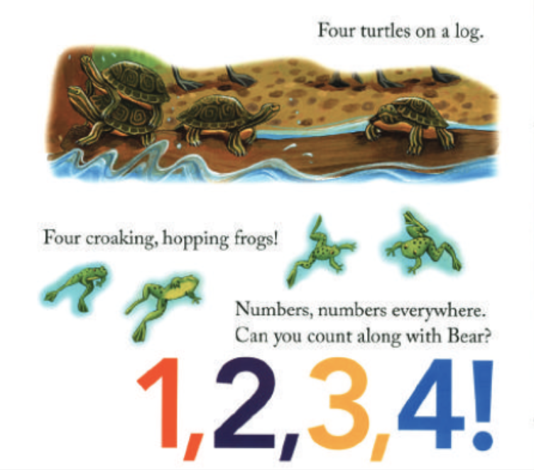"""There are four turtles on a log and four hopping frogs. Illustration from """"Bear Counts."""""""
