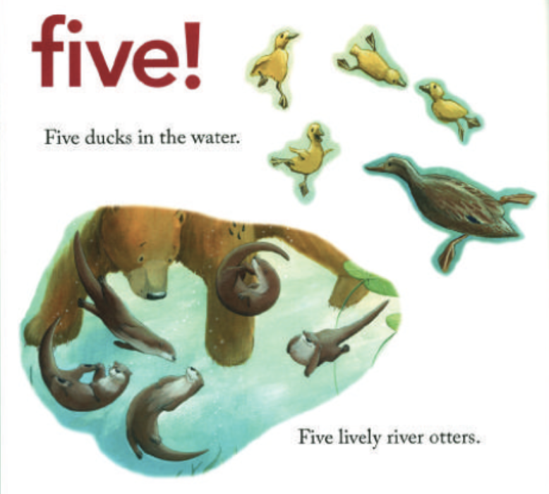 """There are five ducks in the water and five river otters. Illustration from """"Bear Counts."""""""
