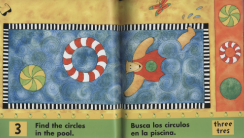 """A bear swims on his back in a pool with two circular inflatable tubes. Illustration from """"Bear in a Square."""""""