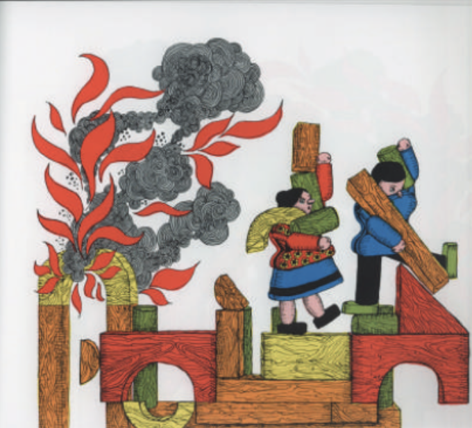 """A toy man and woman run away from toy blocks on fire while holding other toy blocks. Illustration from """"Changes, changes."""""""