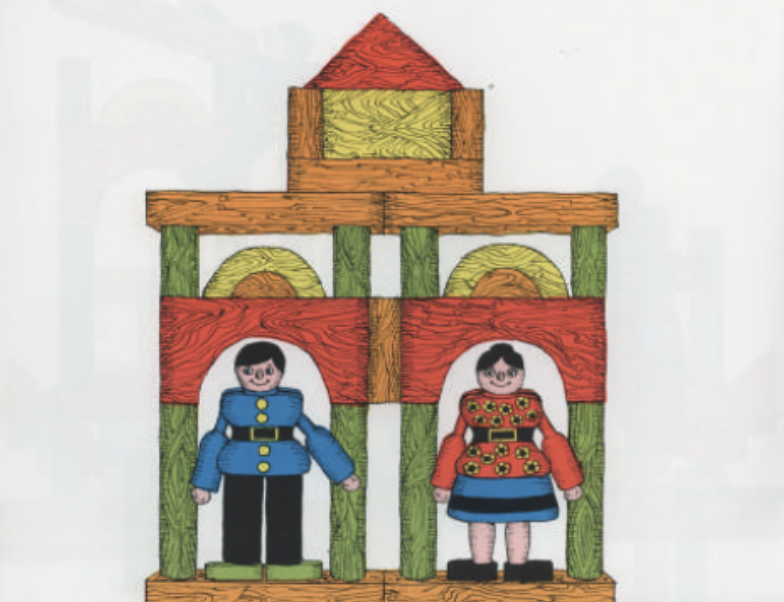 """A toy man and women stand under stacked wooden blocks. Illustration from """"Changes, changes."""""""