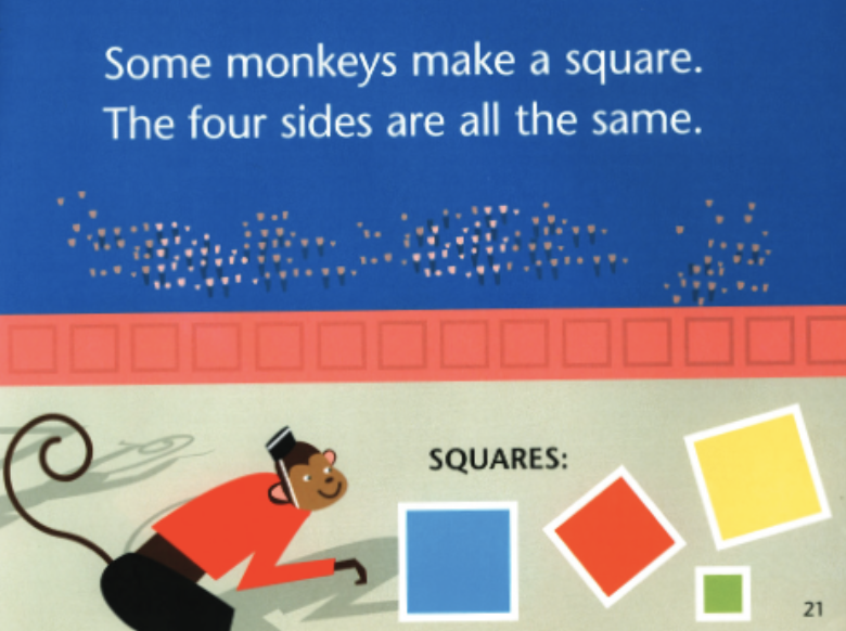 "A monkey wearing clothes and a hat is next to a blue, red, yellow and green box. Illustration from ""Circus Shapes."""