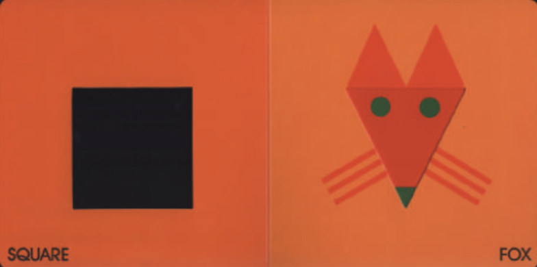 """On the left, there is a box and on the right, there is a fox with a triangle face. Illustration from """"Color Zoo."""""""