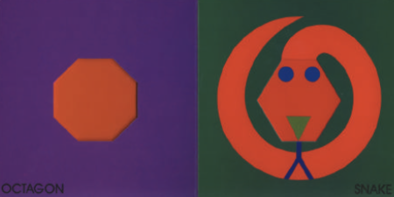 """On the left, there is a hexagon and on the right, there is a snake with the hexagon as a face. Illustration from """"Color Zoo."""""""