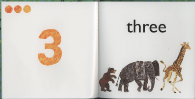 """A bear, elephant, and giraffe are all in a line. Illustration from """"Eric Carle's 123."""""""