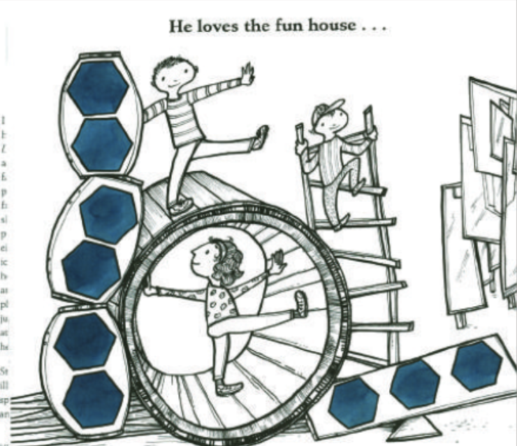 "Three children play in a funhouse, climbing on ladders and around objects. Illustration from ""Have You Seen My Monster?"""