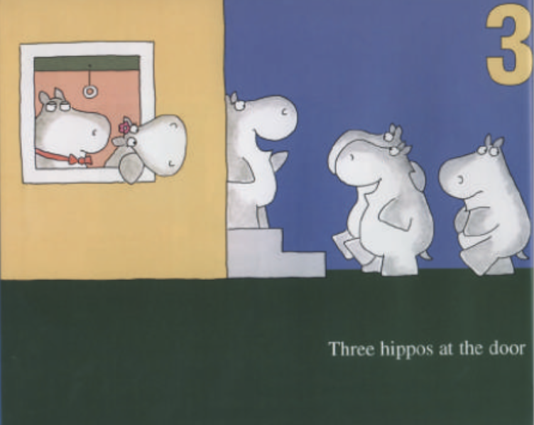 """A hippo stands at the door and greets three other hippos who walk up to the house. Illustration from """"Hippos Go Berserk!"""""""