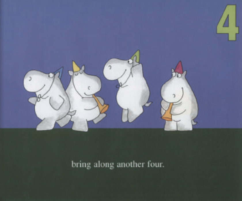 """Four hippos wear party hats while two are playing the trumpet. Illustration from """"Hippos Go Berserk!"""""""