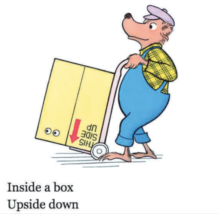 "A bear uses a trolley to move a box. Illustration from ""Inside Outside Upside Down."""