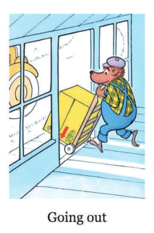 "A bear moves a box out of a house and towards a car outside. Illustration from ""Inside Outside Upside Down."""