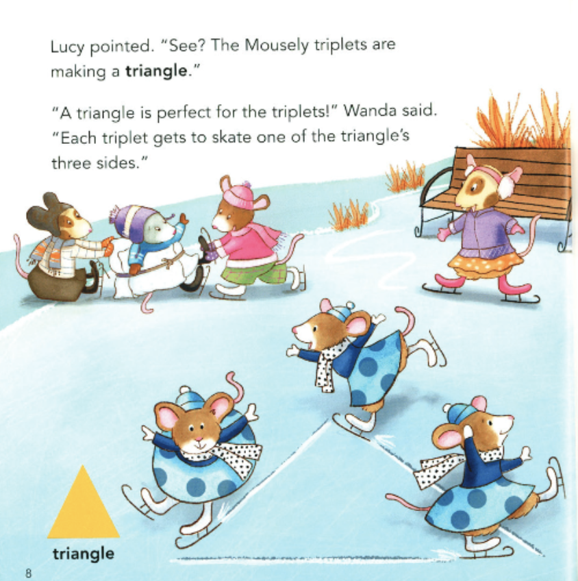 "Seven mice ice skate on a lake, three who are skating in the shape of a triangle. Illustration from ""Mice on Ice""."