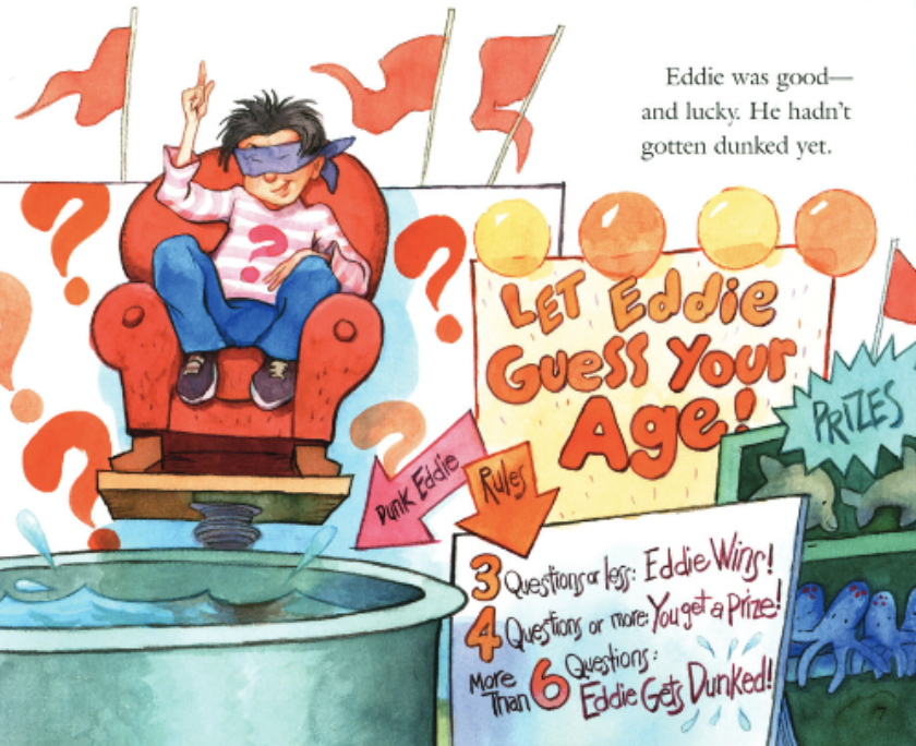 "A boy who is blinded sits on a sofa balancing over a tub of water, raising his finger and smiling. Illustration from ""More or Less""."