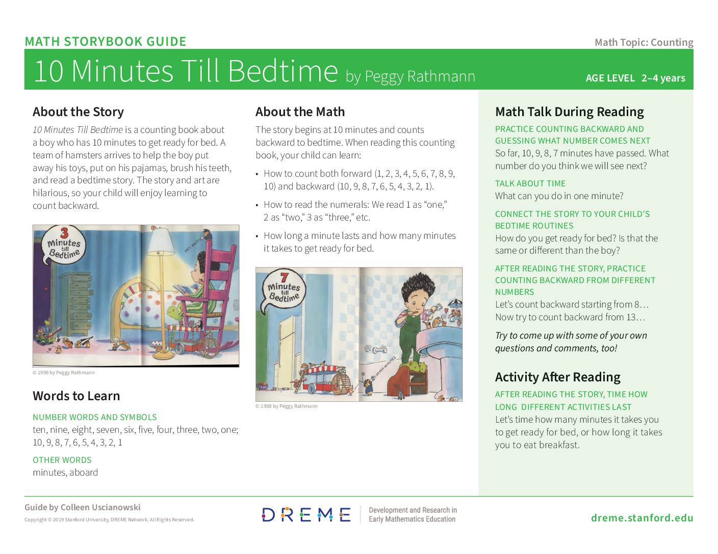 Download Storybook Guide for 10 Minutes till Bedtime PDF