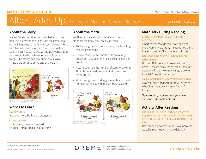 Download Albert Adds Up! Storybook Guide PDF