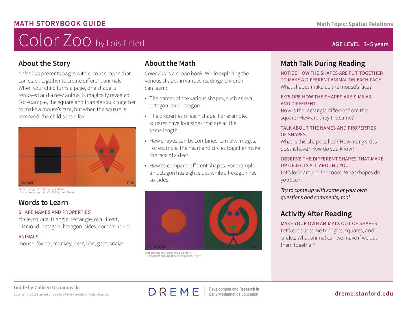 Download Storybook Guide for Color Zoo PDF