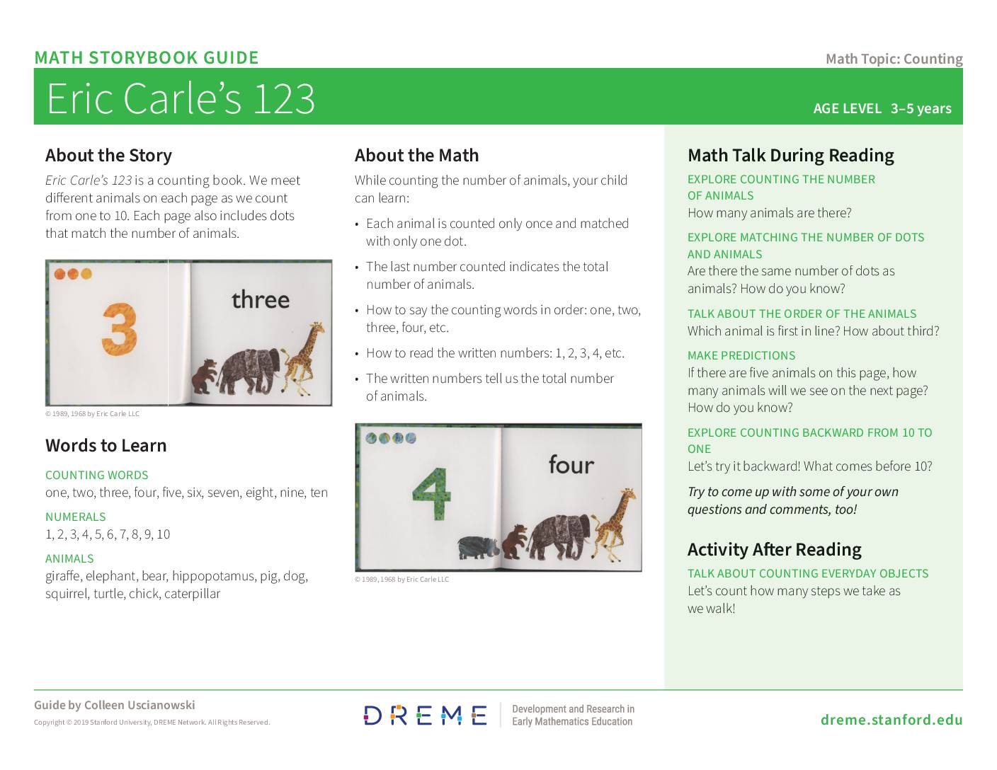 Download Storybook Guide for Eric Carle's 123 PDF