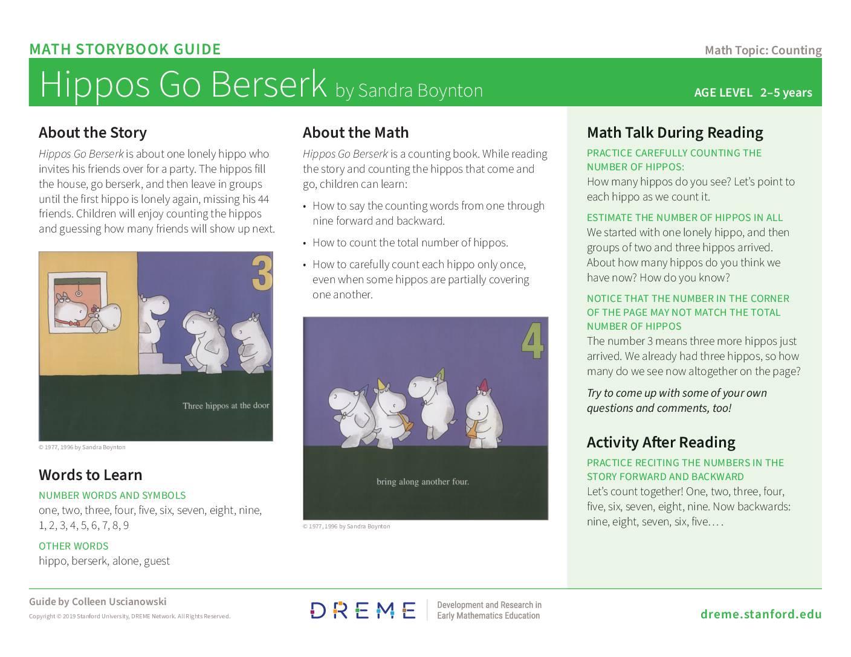 Download Storybook Guide for Hippos Go Berserk! PDF