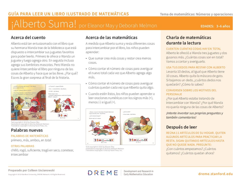 Download Albert Adds Up! Storybook Guide (en Español) PDF