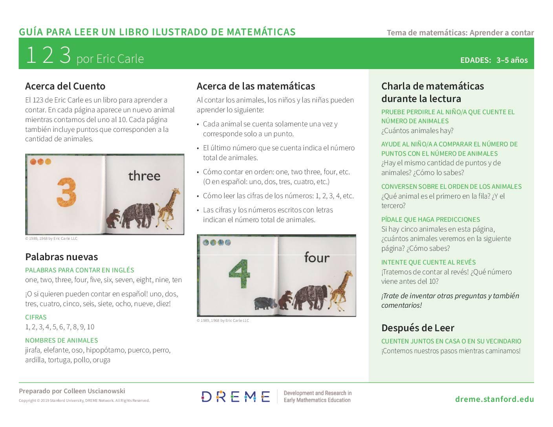Download Storybook Guide for Eric Carle's 123 (en Español) PDF