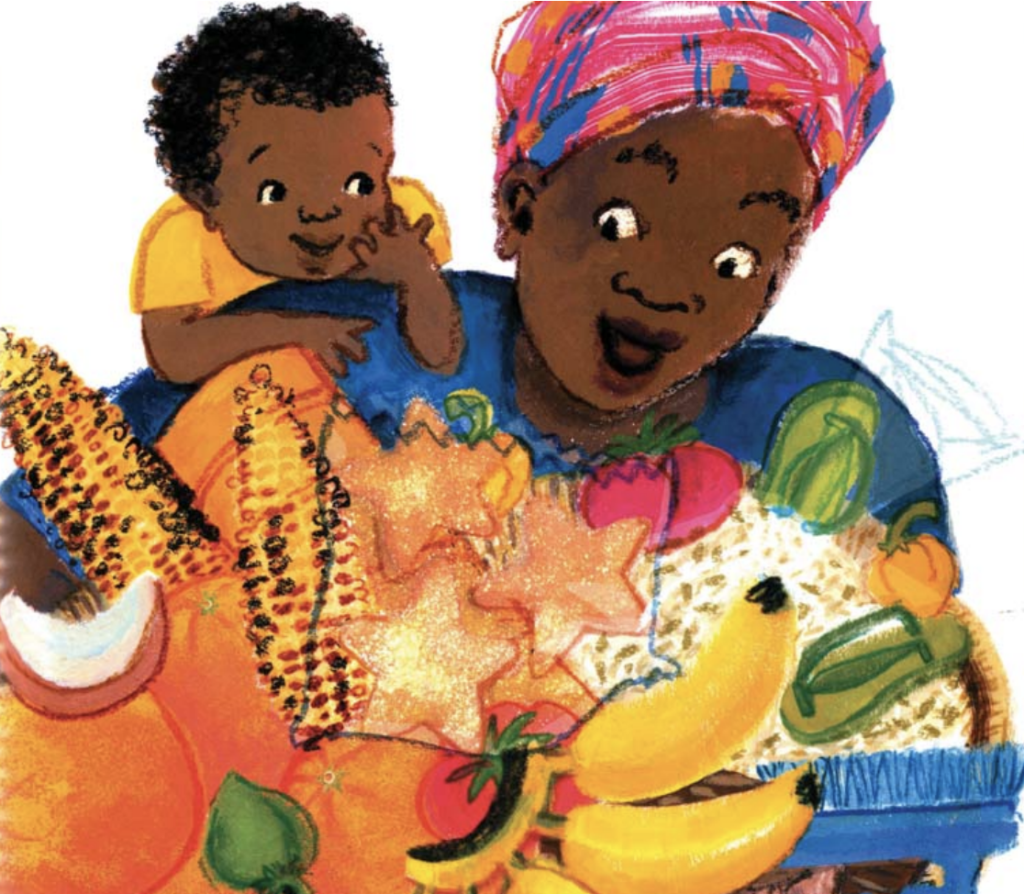 "Mother and baby smile as they look at food. Illustration from ""Baby Goes to Market."""
