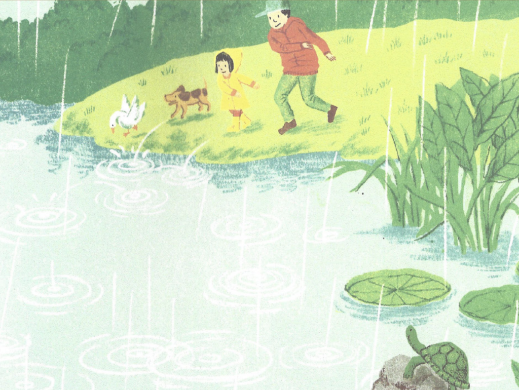 "A father, daughter, dog, and duck play near a pond in the rain. Illustration from ""Round."""