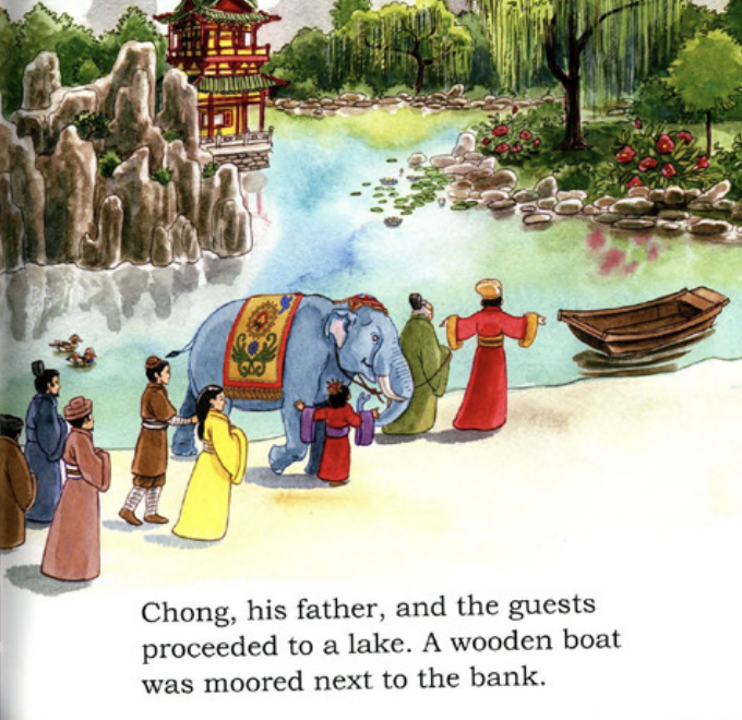 """The emperor and his guests walk in the garden with the elephant. Illustration from """"Cao Chong Weighs an Elephant."""""""