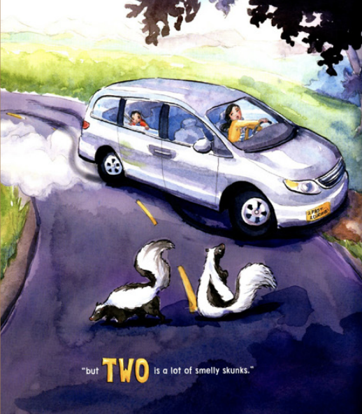 "A mother driving a car swerves when she sees two skunks in the road. Illustration from ""Is 2 a Lot?"""