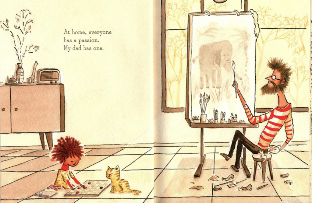 "A father paints while his daughter plays checkers. Illustration from ""Count on Me."""