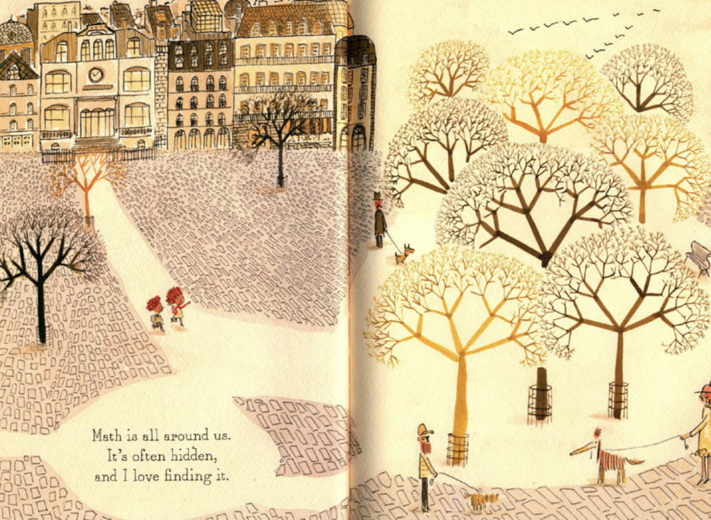"A boy and girl take a walk through a park together. Illustration from ""Count on Me."""