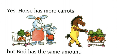 """Two bunnies and a horse shop for carrots at a grocery store. Illustration from """"Just Enough."""""""
