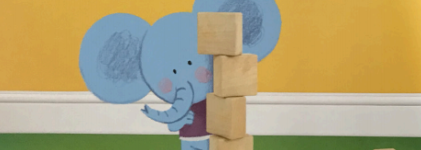 """An elephant stacks four wooden blocks. Illustration from """"Crash! Boom! A Math Tale."""""""