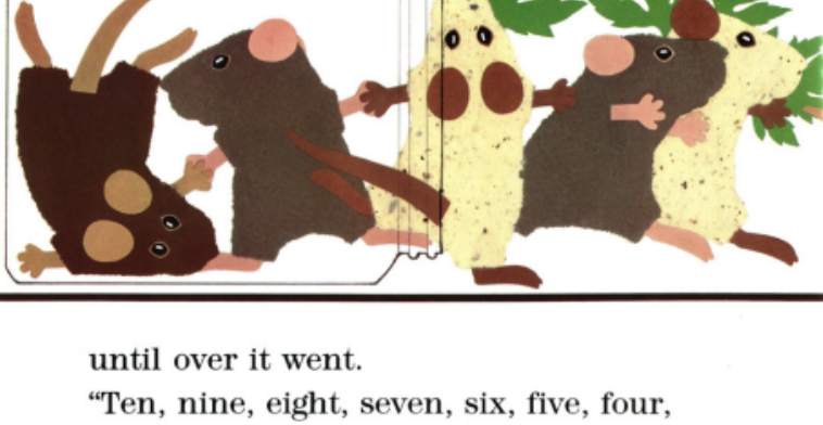 """Five mice escape out of a jar that has been tipped over. Illustration from """"Mouse Count."""""""
