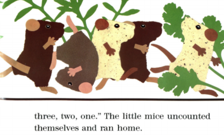 """Five mice run home. Illustration from """"Mouse Count."""""""