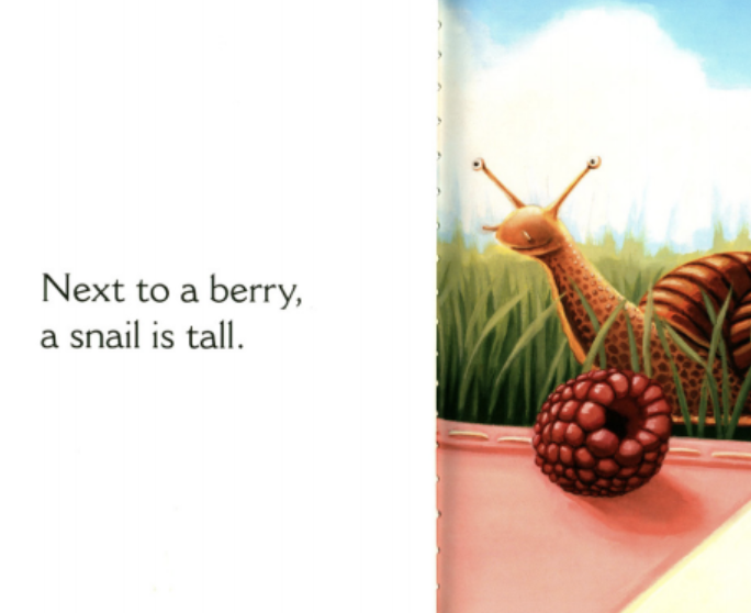 """A snail sits next to a berry in the grass. Illustration from """"Next to an Ant."""""""