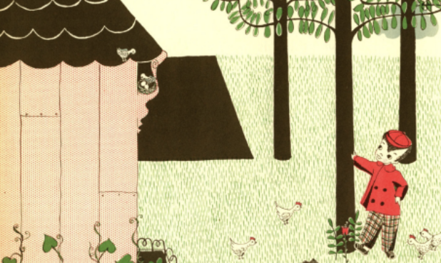 """A boy stands outside of his house near trees and chickens. Illustration from """"Growing Story."""""""