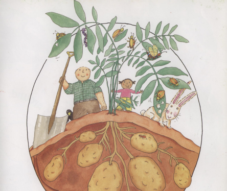 "A man, girl, rabbit, and bugs observe potatoes growing. Illustration from ""Up, Down, and Around."""
