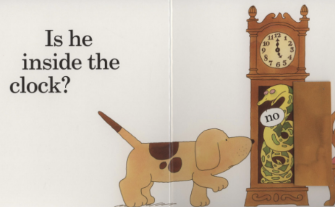"A dog looks for her lost puppy inside of a clock. Illustration from ""Where's Spot?"""