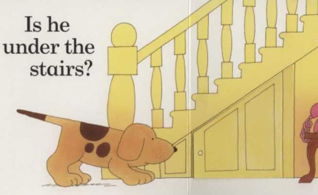 "A dog looks for her lost puppy under the stairs. Illustration from ""Where's Spot?"""