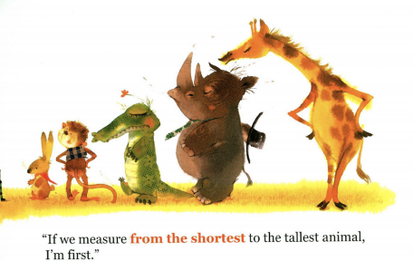 "A rabbit, monkey, alligator, rino, and giraffe line up from shortest to tallest. Illustration from ""Who Eats First."""