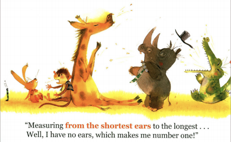 "A rabbit, monkey, alligator, rino, and giraffe all compare ear lengths. Illustration from ""Who Eats First."""